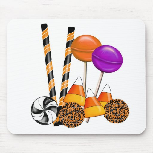 Halloween Candy Trick Or Treat Lollipop Candy Corn Mouse Pad