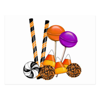 Halloween Candy Trick Or Treat Lollipop Candy Corn Post Card