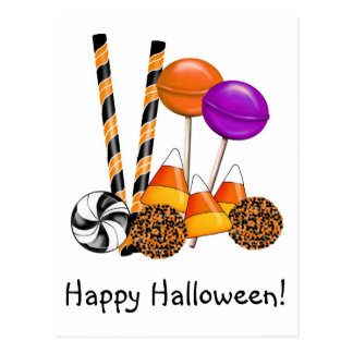 Halloween Candy Trick Or Treat Lollipop Candy Corn Postcard