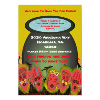 Halloween Cannibal Themed Tiki Party Bash - 3.5x5 Paper Invitation Card