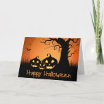 """Halloween Card<br><div class=""""desc"""">Greeting card shown with a festive Halloween pumpkins print.  Customize this card or buy as is.</div>"""