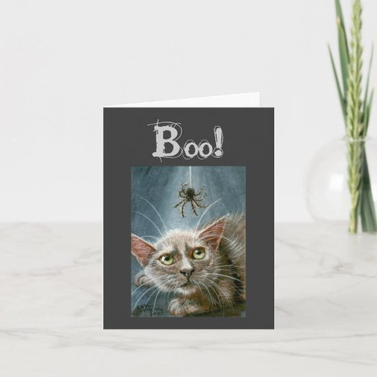 Halloween Card, Cat and Spider, Boo! Card