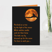Halloween card for cat lovers, original poem