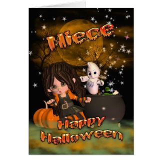 Halloween card for Niece, trick or treat? happy ha
