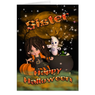 Halloween card for Sister, trick or treat?