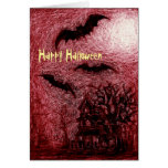 Halloween Card Haunting House Red