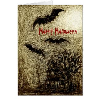 Halloween Card Haunting House Yellow