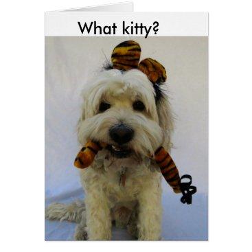 Halloween Themed halloween card, humor, dog eats cat, guilty dog, card