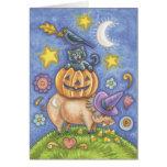 Halloween Card, Pig, Black Cat, Pumpkin, Crow Greeting Card