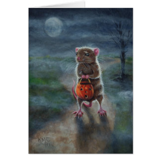 Halloween card Rat Pumpkin basket full moon fog