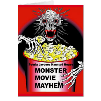 Halloween Card Skeleton Eating Buttered Popcorn