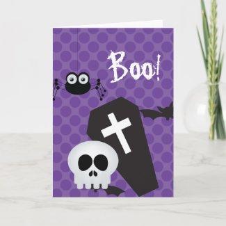 Halloween Card tombstone ,spiders