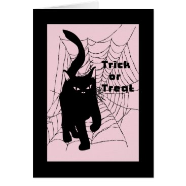 Halloween Themed Halloween Card, Trick or Treat Cat Card