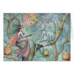 Halloween Card Witch and Ghost
