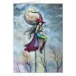 Halloween Card Witch Cat Fairy Art