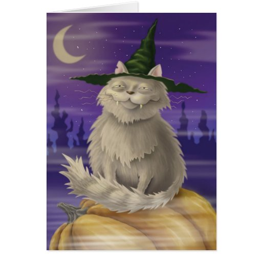 Halloween card with big smug witches cat