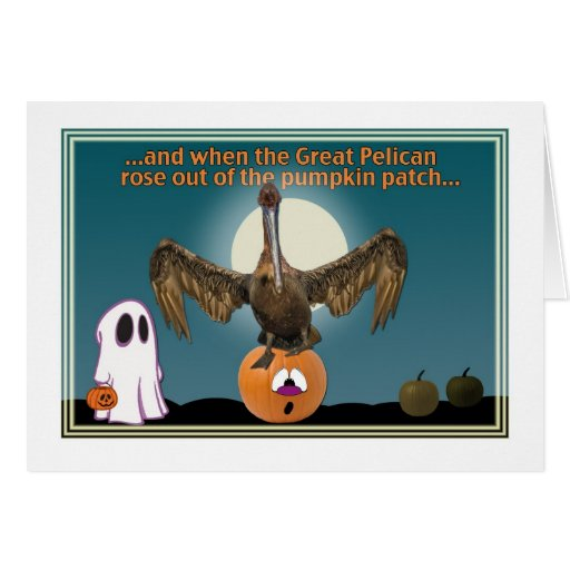 Halloween Card with Brown Pelican