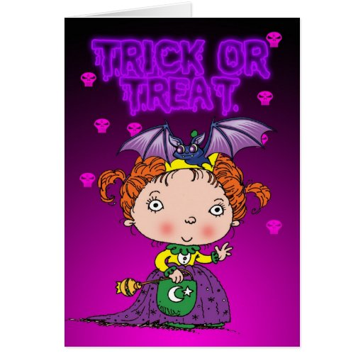 Halloween card with cute little princess trick or