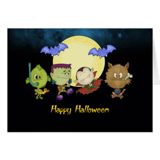 halloween card with frankie and friends - vampire,