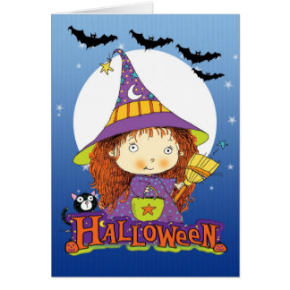 Halloween card with little wtich cat and bats