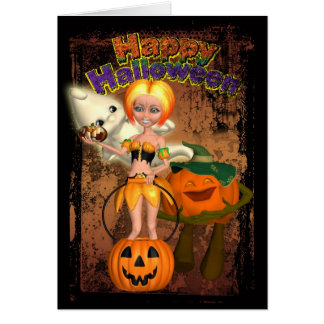 Halloween Card With Pumpkin Girl, Ghost And Jackol