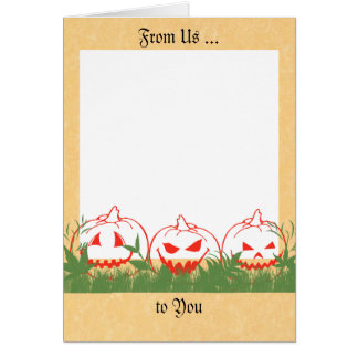 Halloween Card with Pumpkins, Add Your Own Photo