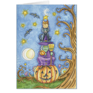 Halloween card with totem Witch, cat and owl sitti