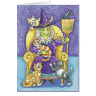 Halloween card with Witch and lots of cats