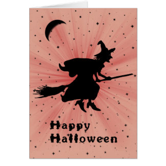 Halloween Card with Witch on a Broom Humorous