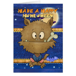 halloween card with wolf cobwebs and happy bats
