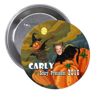 Halloween Carly Fiorina Black Cat Pinback Button