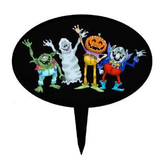 Halloween cartoon creatures waving, cake picks. cake topper