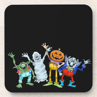 Halloween cartoon creatures waving, coasters. beverage coaster