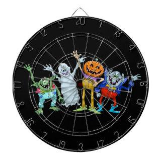 Halloween cartoon creatures waving, dartboard. dartboard