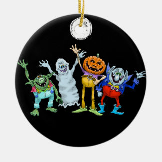 Halloween cartoon creatures waving, decoration. ceramic ornament