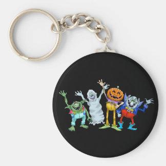 Halloween cartoon creatures waving keychain