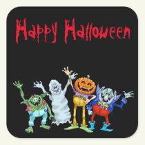 Halloween cartoon creatures waving, stickers. square sticker