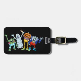 Halloween cartoon creatures waving, tag. luggage tag