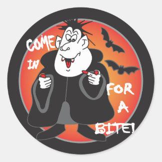 Halloween Cartoon Dracula Classic Round Sticker