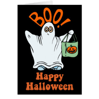 Halloween Cartoon Ghost Trick or Treat Card