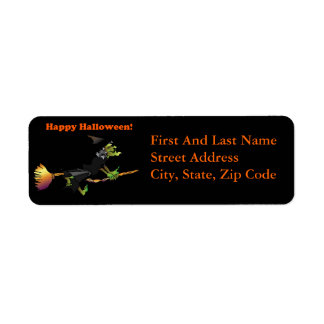 Halloween Cartoon Green Witch on Broomstick Label