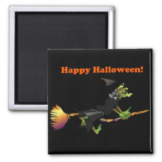 Halloween Cartoon Green Witch on Broomstick Magnet
