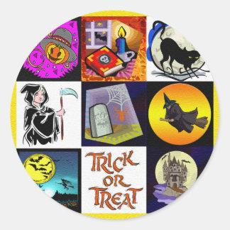 Halloween Cartoon Montage Classic Round Sticker