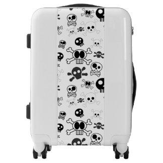 Halloween Cartoon Skull Pattern in Black White Luggage