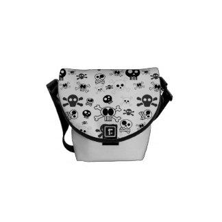 Halloween Cartoon Skull Pattern in Black White Messenger Bag