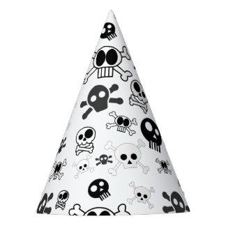 Halloween Cartoon Skull Pattern in Black White Party Hat