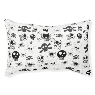 Halloween Themed Halloween Cartoon Skull Pattern in Black White Pet Bed