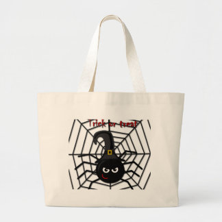 Halloween cartoon spider large tote bag