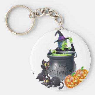 Halloween Cartoon Witch Scene Keychains