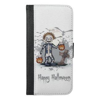 Halloween cartoon zombie in cemetery. iPhone 6/6s plus wallet case